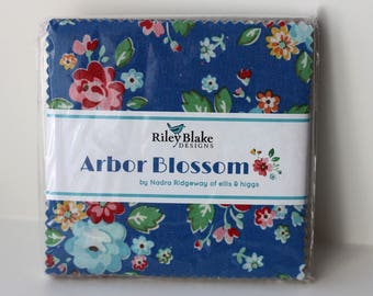 SALE 1 Pack 5 inch charm pack squares fabric ARBOR BLOSSOM by Riley Blake from Nadra Ridgeway