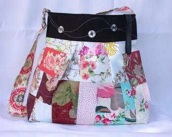 Vintage Barkcloth Patchwork-pink roses -Beach -bag -adjustable-Messenger -Shoulder Bag- BagZGirl