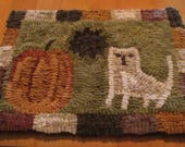 Pumpkin Cat Primitive Hooked Rug