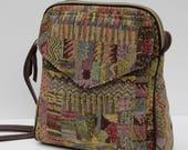 SHOULDER BAG  Crazy Quilt Tapestry with Brown Leather Trim