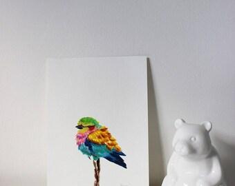 Rollerbird Portrait, Bird Portrait, Minimalistic Bird Art, Bird Painting, Bird Art, Nursery Bird Art