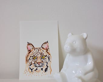 Bobcat Portrait, Bobcat, Bobcat Painting, Bobcat Art, Big Cat Art, Cat Art, Mini Cat Painting, Mini Animal Art, Nursery Cat Art