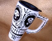 Salvador Dali' Skulls Ceramic Travel Mug with Famous Moustaches and Toothy Grins