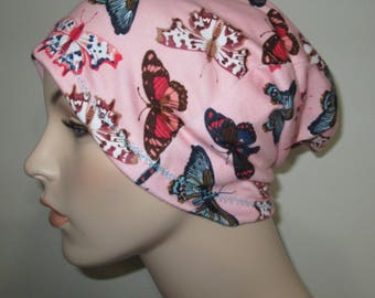 Chemo Slouchy Butterfly Hat Sleep Cap, Cancer Hat, Alopecia