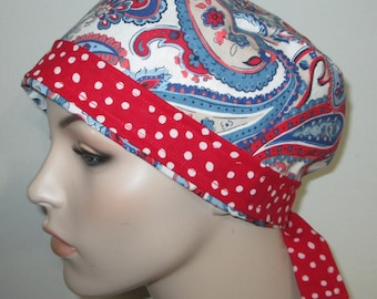 Scrub Cap FREE Ship Chemo Hat Blue Paisley OR Cap Nurses Cap Surgical Cap Free Ship USA Adjustable Chemo Hat