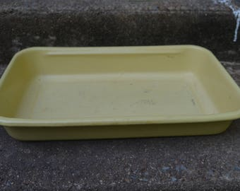 Vintage Yellow Enamel Enamelware Roasting Pan Baking Roaster