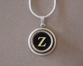 Typewriter key Initial necklace BLACK LETTER Z  Typewriter Key Necklace  Initial Z serif font monogram Necklace Z