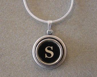 Typewriter key necklace Jewelry Typewriter key Initial necklace Initial S Steampunk recycled jewelry