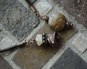 BOHO Leather choker, Lariat Tie necklace, Citrine and Jasper ends, Copper, OOAK