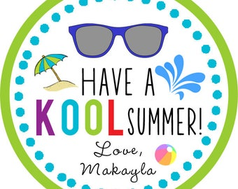 DIY Printable File - Have a Kool Summer End of School Year Stickers Labels - Avery 22807