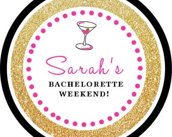 DIY Printable File- Glitter Gold Martini Cocktail Bachelorette Party Thank You Stickers, Tags- Avery Label 22807