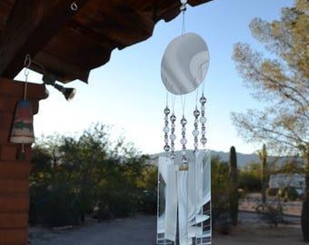 ON SALE Windchime White Wispy Glass