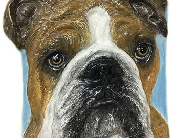 In Stock English Bulldog CERAMIC Portrait Sculpture 3D Dog Art Tile Plaque FUNCTIONAL ART by Sondra Alexander