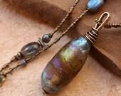 Handmade Glass Basha Bead Focal Bead Pendant + Labradorite + Necklace + Iridescent Blue Violet Gold + Dawn Wilson Enoch + Desert Talismans