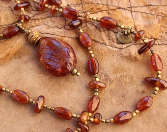 Ancient Style Hessonite Garnet Bead Necklace + Auburn Red Gold Gemstones + Strengthening + Grounding the Light + Brass Beads and Charms