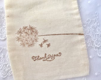 Dandelion Favor Bags, Dandelion Thank You Bags, Dandelion Muslin Bags, Wedding Favor Bags, SET OF 10
