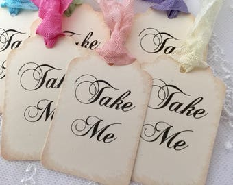 Take Me Tags, Take Me Favor Tags,  Alice In Wonderland Party Favor Tags, Bridal Shower, Baby Shower, Set of 10