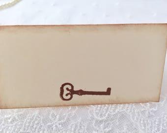 Key Place Cards, Key Placecards, Skeleton Key Place Cards, Wedding Shower, Set of 10