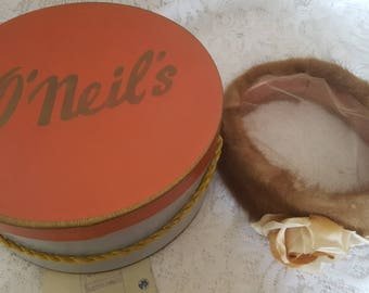 Vintage Mink Pill Box Hat with netting on top and Original Hat Box