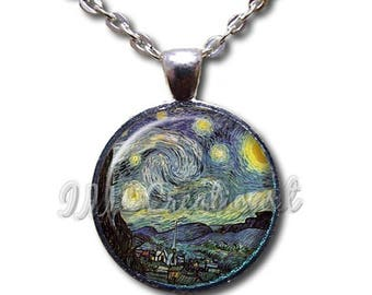 25% OFF - Van Gogh's Starry Night Glass Dome Pendant or with Chain Link Necklace - AP103