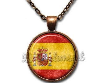 20% OFF - Spain Flag Grunge Style Glass Dome Pendant or with Chain Link Necklace SM299