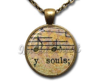 Music Notes Score Lyrics Y Souls Glass Dome Pendant or with Chain Link Necklace PR116