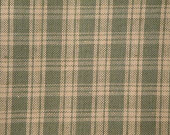 FLAWED Homespun Fabric | Plaid Fabric |  Quilt Fabric | Home Decor Fabric | Sage Green And Natural Basic Plaid | 37 x 44