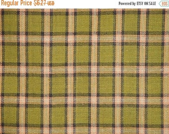 SALE SALE SALE Flawed Homespun Fabric | Plaid Fabric | Primitive Cotton Fabric | Sewing Fabric | Green, Black And Brown Large Plaid Fabric |