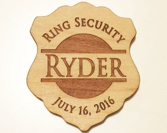 Ring Security, Ring Bear Gift, Personalized Ring Bearer Badge, Ring Bearer Security Badge, Wedding Gift, Engraved Wood Badges, Police Badge