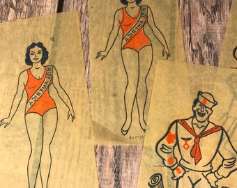 Transfer or Iron ons - Miss America and Barnacle Bill