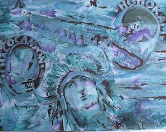 Tucson Chaco Canyon Southwest Indian Horse Turquoise Purple Alexander Henry Fabric 2.5 Yards