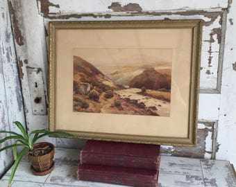 Scottish Watercolor Painting 1946 Mary D G Campbell - Scottish Glen Landscape