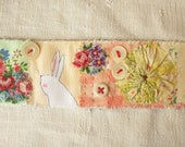 CUFF Bracelet.  Textile - screen printed Bunny and applique - ooak