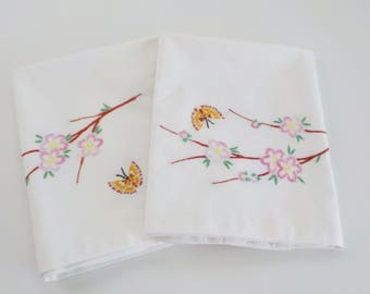 Vintage Handmade Embroidered Pillowcase • Apple Blossom and Butterfiles • Pink Brown White
