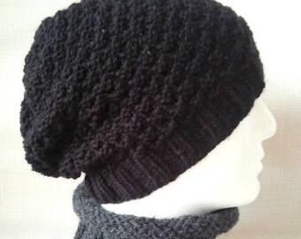 KNITTING PATTERN / Garryvoe/ Slouchy Beanie for Men, Women, Teens in Textured Stitch/Knit Straight/Knit Beanie Hat Pattern