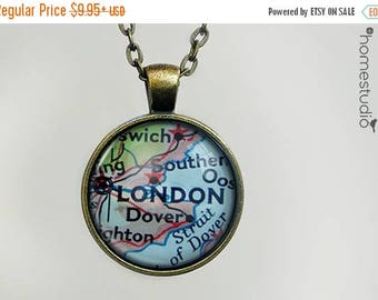 ON SALE - London Map : Glass Dome Necklace, Pendant or Keychain Key Ring. Gift Present metal round art photo jewelry by HomeStudio