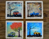 Fine Art Coasters, set of 4, Ford Bronco's, drink coaster, stone, 1970's, classic cars, distressed, car, present, gift, man, fathers day