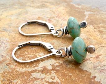 Turquoise Earrings for Her, December Birthstone, Turquoise Dangle Earrings, Lever Back Ear Wires, December Birthday, Sterling Silver, #4729