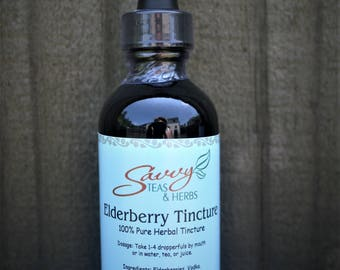 Elderberry Tincture 2 oz.  100% Pure For Colds, Flu, Viruses