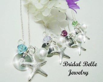 Beach Wedding Jewelry Personalized Bridesmaid Necklaces Starfish Pearl Necklaces