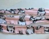 Silk Sari Ribbon-Recycled Pink With Bunnies Sari Ribbon-10 Yards