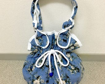 Drawstring Purse --- Blue Rose and Black Cat - Blue