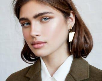 Long Tami earrings / gold, Dangle earrings, gold asymmetrical earrings, gold statement earrings, mismatched earrings gold, cocktail earrings