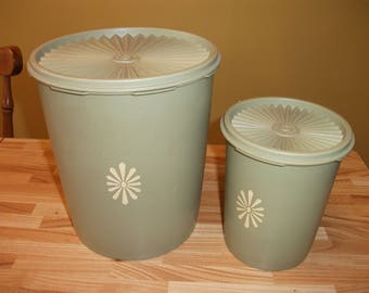 Vintage Green Tupperware Canisters set of 2 Retro Kitchenware Storage Containers