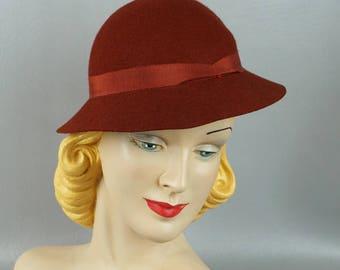 Vintage 1930s Hat NOS Brown Felt Brimmed Sportster Sz 20