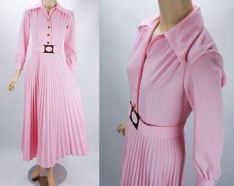 1970s Vintage Dress Pink Full Length Pleated Skirt Party Dress B36 W26