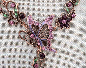Floral necklace, butterfly necklace