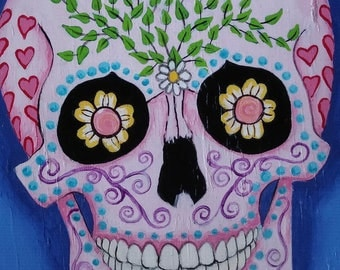 Sugar Skull on Blue, hand-Painted in Acrylic on Wood OOK