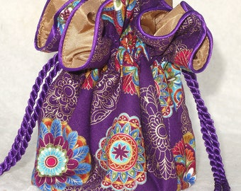 Mandalas on Purple Jewelry Pouch, Jewelry Travel Organizer, Jewerly Bag