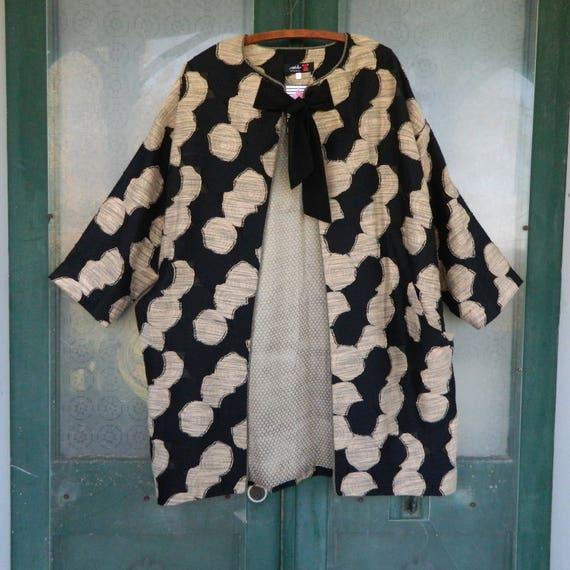Ark Istanbul Long Evening Jacket -L- Black & Gold Circles Poly/Viscose NWT